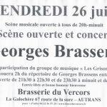 Scène ouverte Georges Brassens le 26 juin 2015 Brasserie du Vercors BIERCORS BIère du Vercors AUTRANS